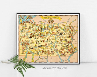 PENNSYLVANIA MAP - Instant Digital Download - printable vintage picture map for framing, totes, pillows, cards - retro map art wall decor