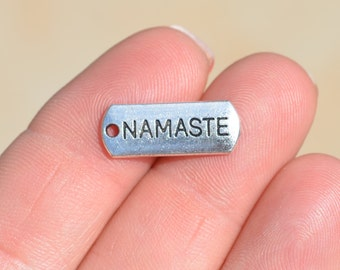 BULK 50 Silver Namaste Yoga Charms SC2754