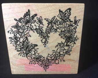Floral Heart Wreath with Butterflies Rubber Stamp Used