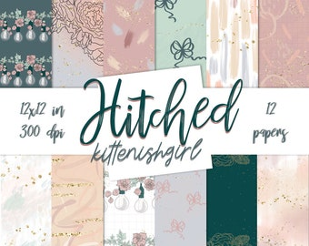 Hitched DIGITAL PAPER Wedding Anniversary Marriage Romantic Flowers Lightbulbs