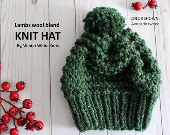 KNIT HAT, chunky beanie hat, hand-knitted hat, slouchy knit hat, pom pom hat, slouchy knit hat, Chunky knit hat, wool hat, soft and cozy,
