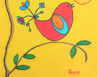 """Red Bird -- 12"""" X 12"""" painting by Rory, an autistic artist"""