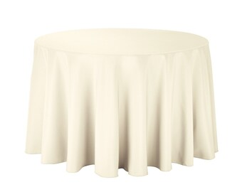 108 Inch Polyester Ivory Round Tablecloth