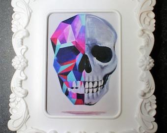 Geometric crystal skull print in ornate frame