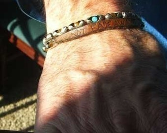 Mens Leather Bracelet | Sterling  Silver, Tiger Eye, Turquoise and Leather Wild Cochise