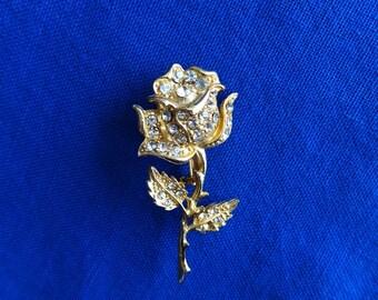 Gold-tone, Costume Jewelry Rose Brooch