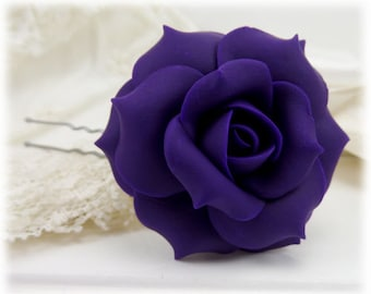 Purple Rose Hair Clip Pin - Purple Rose Hair Flower, Purple Flower Hair Pin
