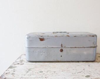 Industrial Metal Toolbox - Union Gray Silver Case Box Tool Tackle Tools Box Vintage Silver Tacklebox Container Organizer Retro