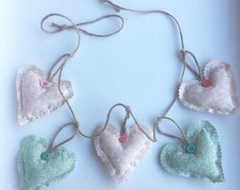 Heart Garland, Hanging Fabric Hearts, Gift Idea