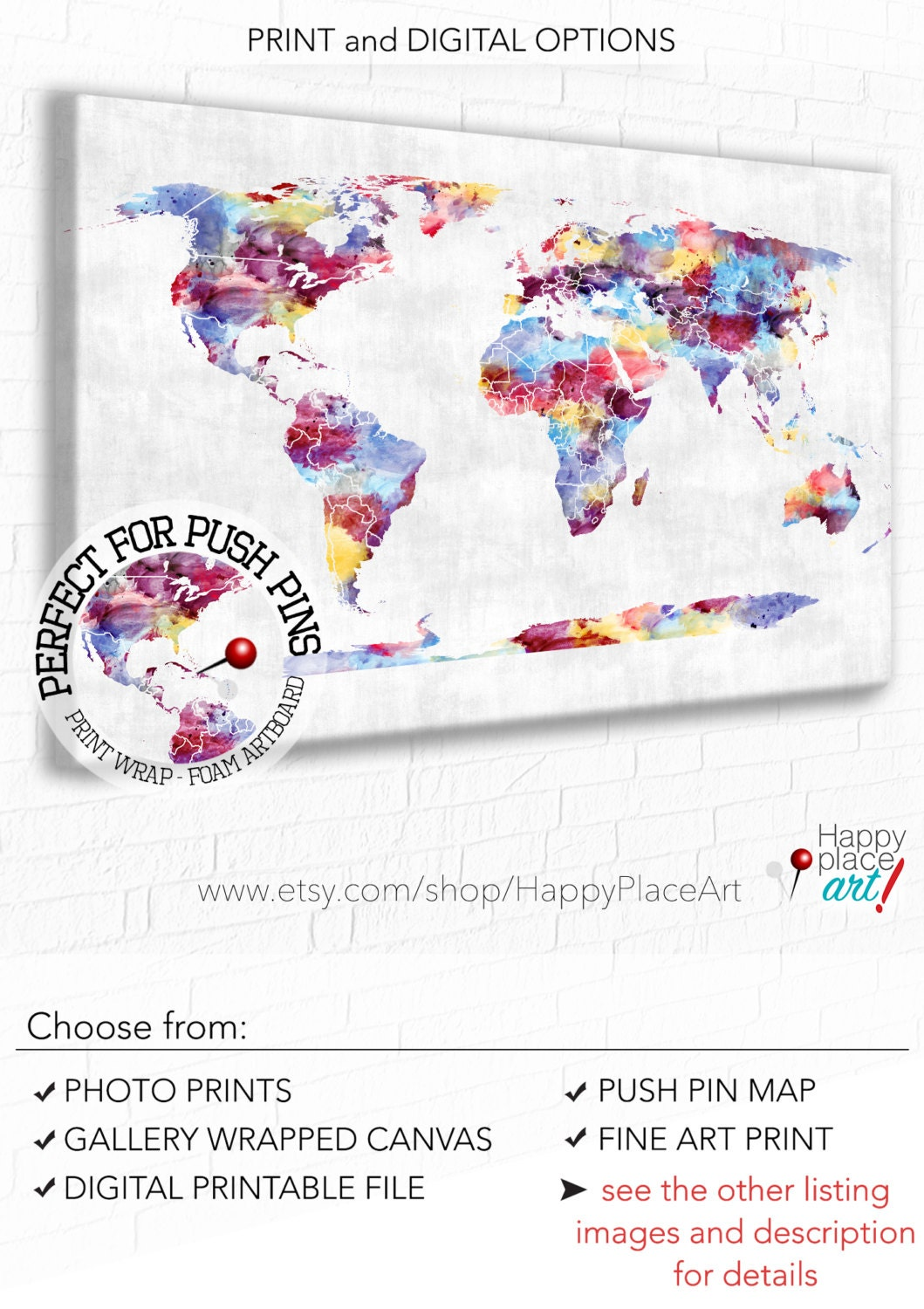 Push pin world map large colourful map abstract world map zoom gumiabroncs Image collections
