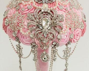 Brooch Bouquet. Pink Ivory Fabric Bouquet, Unique Wedding Bridal Bouquet