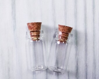 Lot of 100 (1ml) Glass Bottles with Cork 12x24mm Tiny Empty Jars. Small Vials. Message in a Bottle 1ml
