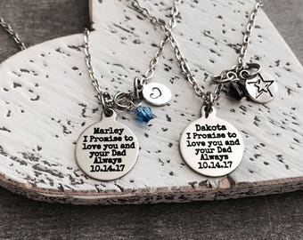 I promise to love, you and your dad, always, Step Daughter, Daughter of the Groom, Silver Necklace, Charm Necklace, From Bride, Gifts for