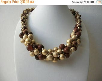 ON SALE Vintage Chunky Wood Painted Beads Shorter Length Necklace 71317