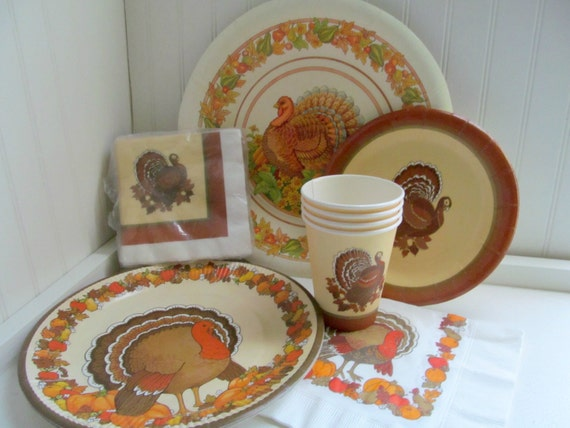 Items similar to Vintage Lot Thanksgiving Paper Plates Napkins Cups with Turkey and Autumn Designs on Etsy & Items similar to Vintage Lot Thanksgiving Paper Plates Napkins ...