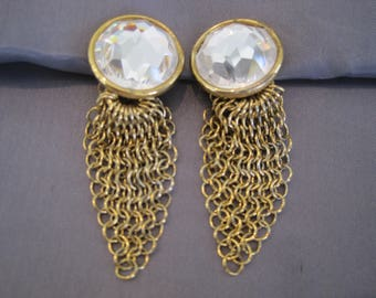 Vintage Goldtone Faceted Rhinestone Chain Earrings