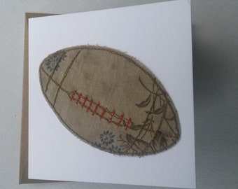 Original Textile Art Rugby Ball Card