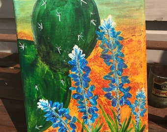 Cactus and Bluebonnets Texas Sun