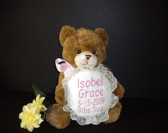 Birth announcement, personalized,stuffed animal,  plush bear, baby gift, machine embroidery, little pillow with lace