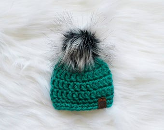 Beanie, Hat, Touque, Toque, Crochet Hat, Knit Hat, Pom Pom, Faux Fur, Photo Prop, Photography Prop, Baby Hat, Winter Hat, Hats, Kids Hat
