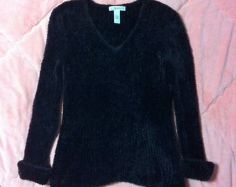90s Vintage Black Fuzzy Sweater, 90s Vintage Black Sweater Pullover, Black Fuzzy Sweater, Black Sweater