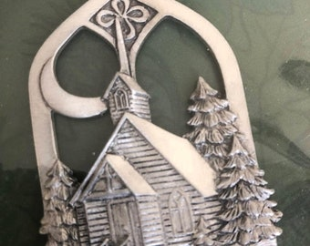 APRILSALE Vintage Seagull Pewter Church Nestled in the Evergreen Trees, Christmas Ornament Made in Canada