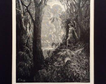 1870 MILTON'S PARADISE LOST Antique Engraving Gustave Doré Angel Bible