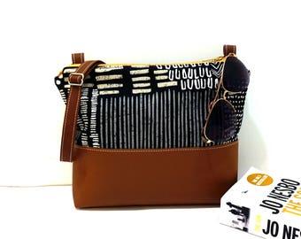 Crossbody Bag, Black Crossbody Bag, Crossbody, Crossbody with Vegan Leather Trim, Zipper Shoulder Bag, Gift for Her