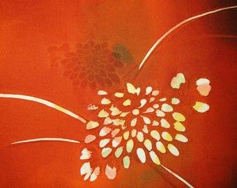 """SILK KIMONO FABRIC Vintage Japanese Silk Kimono Fabric Bokashi Flower Floral Vintage Japanese Silk Chirimen Silk Kimono Fabric 14""""W X 1 Yd"""