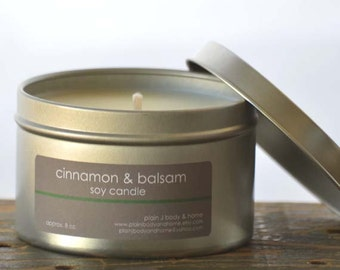 Cinnamon & Balsam Soy Candle Tin 8 oz. - cinnamon candle - balsam candle - fall candle - holiday candle - balsam fir candle - winter candle