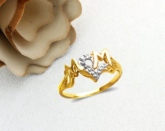 Mother's Day Gift 14K Real Solid Gold Mom Ring Yellow Gold White Gold Two Tone With CZ Size 5 to 9
