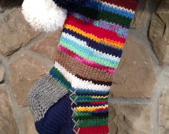 Old Fashioned Hand Knit Rag Series Christmas Stocking Gray Trim Navy Blue Gusset with White Snowflake Chain Detail