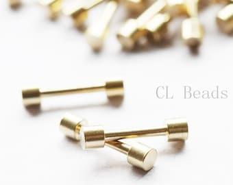 60pcs Raw Brass Bar For Braid Jewellry - Friendship braid bracelet - 13.2x3x2.5mm (506C-I-67X)