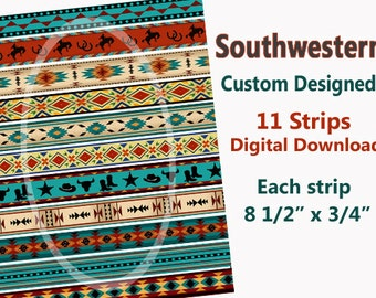Southwestern Design paper Strips, digital paper Borders, Scrapbook supplies, Cards, Digital Collage Sheet, Download, craft supplies,
