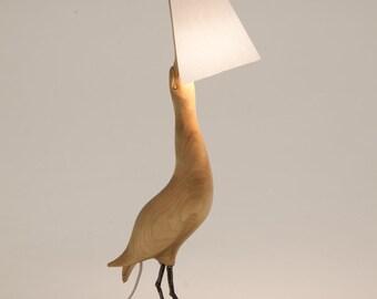 Wooden Table lamp bittern bird Светильник настольный из дерева птица Выпь