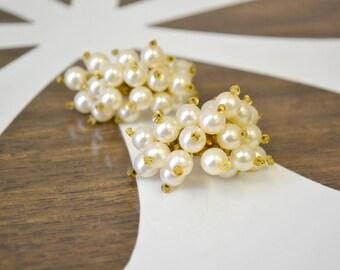 1960s Pearl Cluster Hoop Earrings