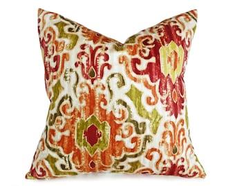 Ikat Pillow Covers, Ikat Cushions, Ikat Throw Pillows, Ikat Cushion Covers, Orange Pillow, Red, Green, Colorful, Zipper, Lumbar, 12x18, 18