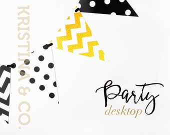 Party polka and chevron flags | Styled desktop | Black and Gold | White background | Product photography
