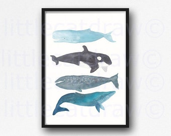 Baleine impression impression aquarelle salle de bain decoration murale décor nautique baleine pile Art Print Home Decor Wall Decor Art Beach sans cadre