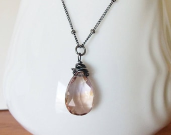 Pink Amethyst Gemstone Pendant Handmade Necklace Wire Wrapped with Oxidized Sterling Silver