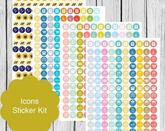 Printable Planner Icon Stickers, Erin Condren Life Planner, S16-IconStickers