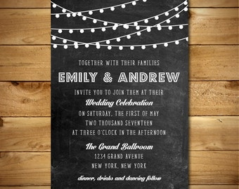 Wedding Invitation Template - Printable Wedding Invitation - Rustic Invitation Template - Instant Download - String Lights Collection
