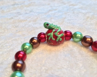 F.R.O.G. Fully Rely on God Bracelet, Green Red Bracelet, Glass Lampwork Frog, Green Red Glass Pearl Bracelet, Elastic Bracelet, FROG
