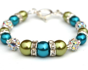 Turquoise and Lime Green Bling Bracelet, Bridesmaid Jewelry, Wedding Party, Under 30, Turquoise Green Wedding