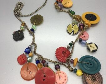 Bakelite & Button Charm Necklace Vintage Jewelry Fashion Jewelry
