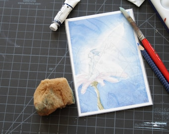Fantasy blue fairy on flower original 4x6 watercolor painting