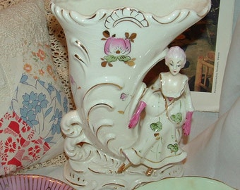 Sale.....Art Nouveau Pink Gloved Victorian Lady Sitting on Cornucopia or Ocean Wave  Porcelain Vase