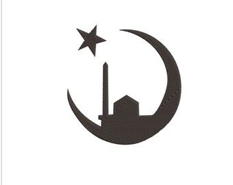 STAR AND MOSQUE machine embroidery download 3 diff sizes