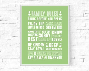 "Printable Family Rules Typography Print - Word Poster - Home Decor -  Instant Download - Contemporary Wall Art - 8""x10"" and A4."