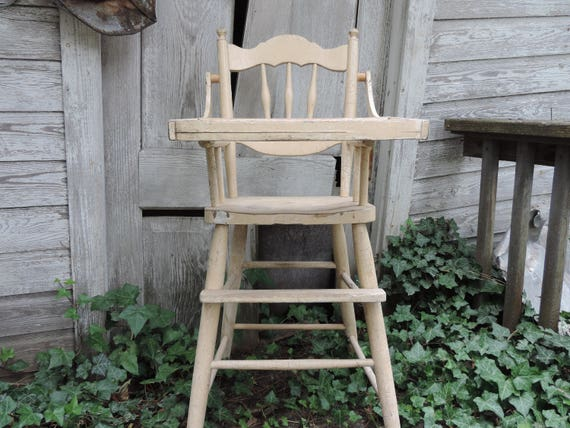 Like this item? - Vintage High Chair Antique Wooden High Chair Childs Naturally